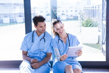 Medical team interacting using digital