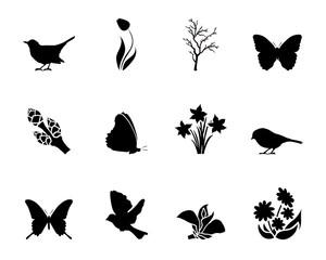 Symbole Frühling - Schwarz