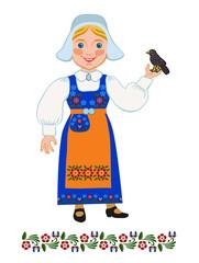 Girl in national costume Swedish and  blackbird