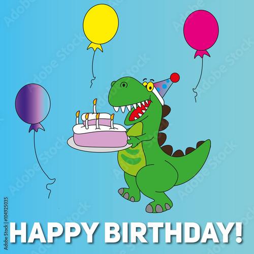 Happy Birthday Card T Rex Dinosaur Stock Image And Royalty Free