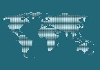 世界地図 ドット イラスト 青
