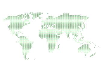 世界地図 ドット イラスト グリーン グラデーション