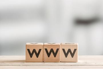 WWW on wooden blocks