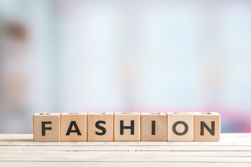 Fashion sign made of wooden blocks