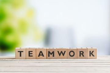 Teamwork message made of cubes