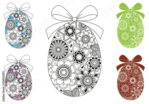 Coloriage Oeuf De Paques Mandala.œufs De Paques Mandala A Colorier 1 Fichier Vectoriel Libre De
