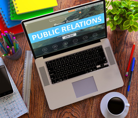 Public Relations on Landing Page of Laptop Screen. PR, Promotion, Communication Concept. 3D Render.