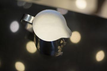 Fresh milk prepare for cappucino coffee