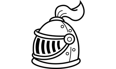 Cartoon illustration of a knight's helmet.