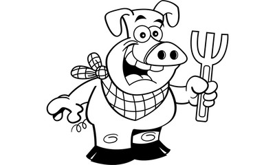 Black and white illustration of a pig holding a fork.