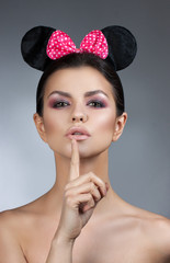 style woman portrait perfect face, professional make. fashion mouse with big ears. Fashion art photo. Air