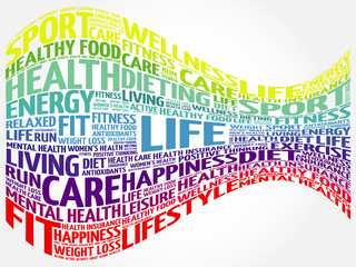 LIFE word cloud background, health concept
