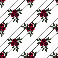 Seamless flowers of red roses pattern on white background in black stripe