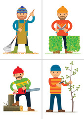 Set of personages working in garden or park