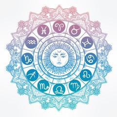 Hand drawn line art of zodiac set with sun.