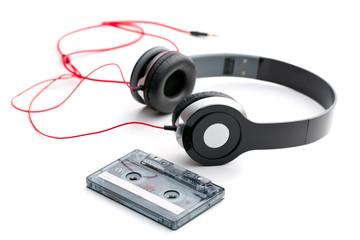 cassette tape and headphones