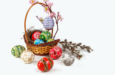 Easter decoration. easter egg on the wood  background. Easter theme. Happy Easter
