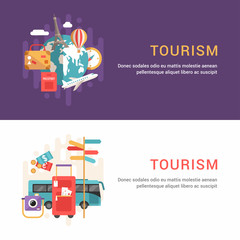Set of Web Banners. Flat Style Vector Illustrations. Tourism Concept