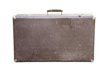 Vintage suitcase on white