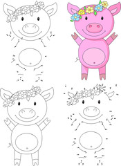 Cartoon pig. Coloring book and dot to dot game for kids