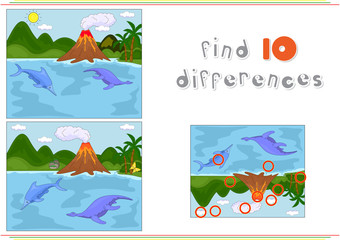 Funny cute ichthyosaurus and pliosaurus on the background of a p