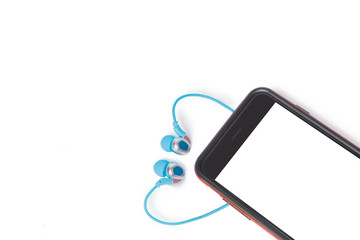 smartphone with earphone isolated on a white