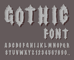 Gothic font. Medieval letter and digit. Awesome Alphabet. Font f