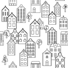 Vector seamless pattern background with european houses in black