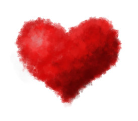 Fluffy heart isolated on white background. Digital painting.