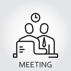 Black flat Line vector icon with a picture of meeting business on white background.