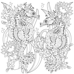 Hand drawn doodle outline seahorse