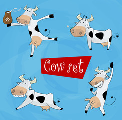 funny cartoon cow in various poses