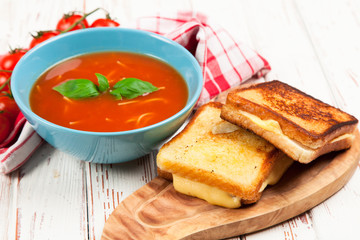 Tomato soup and basil