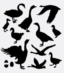 Duck, swan, goose, poultry activity silhouette. Good use for game elements, symbol, logo, web icon, sticker, sign, mascot, avatar, or any design you want. Easy to use.