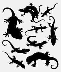 Lizard, gecko, reptile animal silhouette. Good use for symbol, logo, web icon, game elements, mascot, sign, sticker, or any design you want. Easy to use.