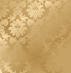 Vector baroque seamless damask golden texture. Luxury floral pattern for wrapping paper, background or wallpaper.