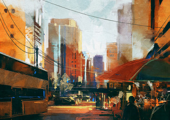 painting of city street in the morning