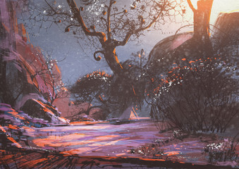 beautiful winter sunset with fantasy trees in the snow