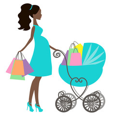 vector of modern pregnant mommy with vintage  baby carriage, online store, logo, silhouette, sale icon on white background, African American girl stores, black woman shopping