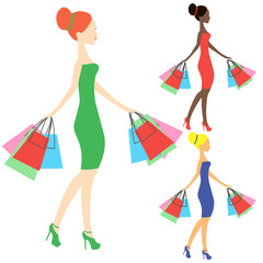girls of different nationalities vector, online store logo, silhouette, sale icon on white background, African American girl stores, black woman shopping