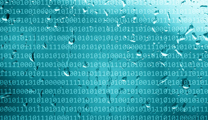 Binary numbers data on abstract rainy blue color window background.