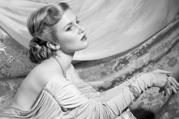 Vintage Style Portrait of Beautiful Woman