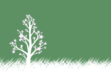 Conceptual green color abstract spring season copy space illustration background with white colored flowering tree and meadow.