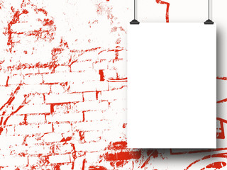 Close-up of one hanged paper sheet with clips on red ink splotchy background