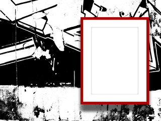 Close-up of one red picture frame on black and white ink splotchy background