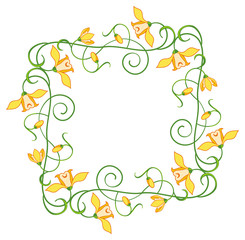 Color frame with yellow flowers