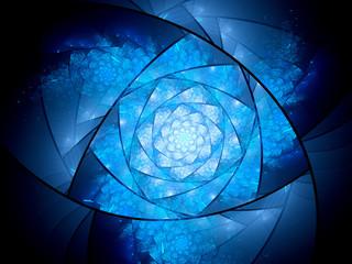 Blue glowing lazysusan shaped space mandala