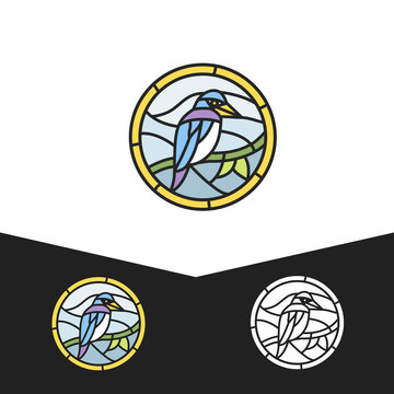 Birds logo in stained glass style.
