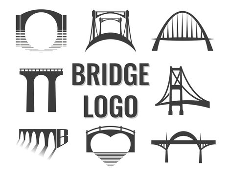 Vector set of bridge connection logo. logotype for business.