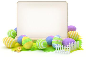 Obraz Easter eggs and blank card - fototapety do salonu